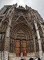 Rouen - Rue du Change - ICE Photocompilation Viewing Up on South Façade of la Cathédrale Notre-Dame de Rouen.jpg