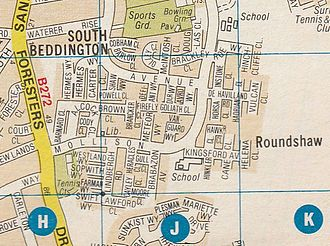 Roundshaw - Roundshaw Estate as it appeared in the London A-Z map book, printed in 1990