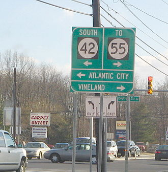 New Jersey Route 41 - Southbound Route 41 at intersection with Deptford Center Road and ramp to southbound Route 42 in Deptford Township