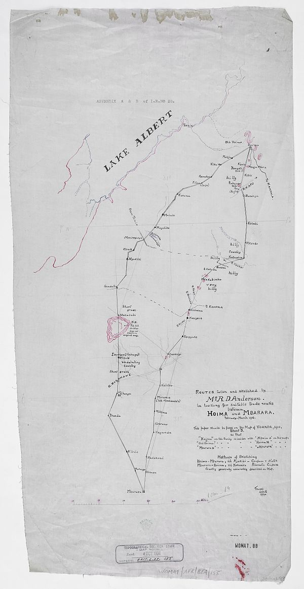600px routes taken and sketched mr. r.d. anderson. in looking for suitable trade routes between hoima and mbarara. %28womat afr bea 155%29