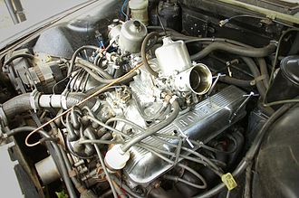 Rover V8 engine - A 4.6-litre Rover V8 engine with SU carbs, fitted to a Rover P6.
