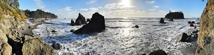 Panorama over Ruby Beach i Olympic National Park.