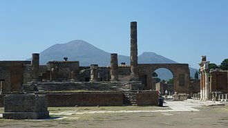 Pompeii - The Temple of Jupiter with Vesuvius in the distance
