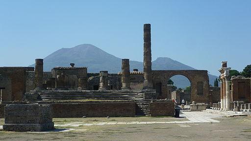 Ruins of Pompeii showing Mount Vesuvius