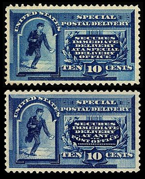U.S. Special Delivery (postal service) - First Special Delivery stamps (two types)