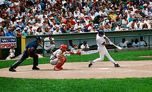 Ryne Sandberg - Sandberg hits a double at Wrigley Field, 1996