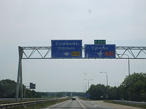 European route E233 - Approaching Hoogeveen interchange from the north