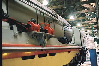 South African Class GL 4-8-2+2-8-4 - Detail of the power reverser (left) and Pyle National Company turbo-generator (right) on no. 2352