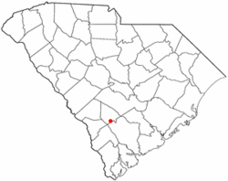 Location of Ehrhardt, South Carolina