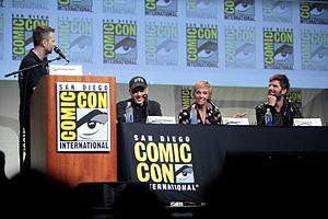 Krampus (film) - Director Michael Dougherty and cast members Toni Collette and Adam Scott at the 2015 San Diego Comic-Con to promote the film.