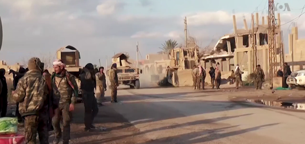 SDF fighters advancing, 12 February 2019 SDF in Baghuz, 12 February 2019 (2).png