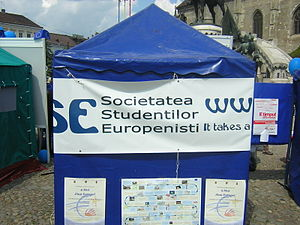 International Association for Political Science Students - IAPSS Member Association SSE Cluj promoting the 2006 Europe Day in Cluj-Napoca, Romania.