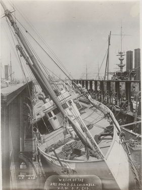 Close up of Columbia's bow following the 1906 earthquake.