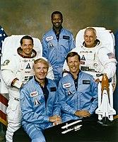 v.l.n.r. Robert Stewart, Vance Brand, Ronald McNair, Robert Gibson, Bruce McCandless
