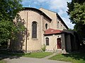Sacred Heart Church, east entry in Gyömrő, Pest County, Hungary.jpg