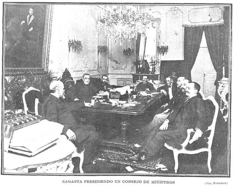 Fitxer sagasta presidiendo un consejo de ministros de for Clausula suelo consejo de ministros