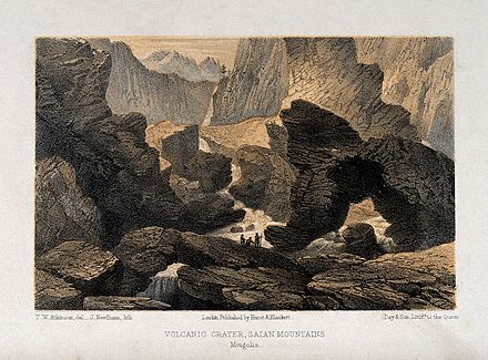 Lithograph of a volcanic crater in the Sayan Mountains from Oriental and Western Siberia by T W Atkinson Saian Mountains, Mongolia; the crater of a volcano with irre Wellcome V0025205.jpg