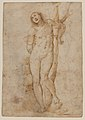 Saint Sebastian (recto); sketches of a male head and a standing figure in a short cape; a copy of the figure on the recto (verso) MET DP-13665-026.jpg