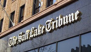 The Salt Lake Tribune - Marquee of The Salt Lake Tribune on the Tribune Building in Downtown Salt Lake City