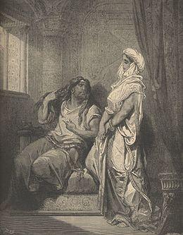 Samson kaj Delilah Gustav Dore ĉ. 1860.jpg
