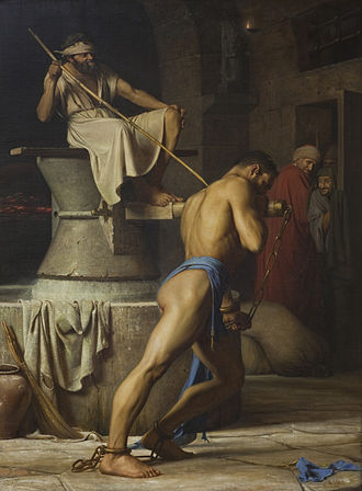 Samson and Delilah (opera) - Samson at the Treadmill (Carl Bloch, 1834–1890)