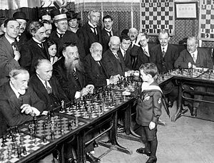 Samuel Reshevsky - Reshevsky in 1920 (at age eight), giving a simultaneous chess exhibition in France