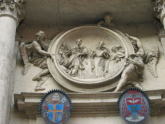 San Marcello al Corso - St Philip Benizi refuses the papal tiara, by Raggi, façade of San Marcello.