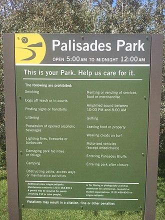Palisades Park (Santa Monica) - Palisades Park informational sign