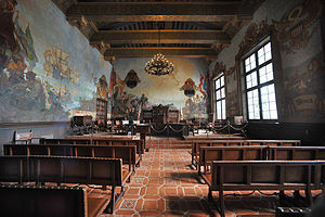 Santa Barbara, California - Mural Room (formerly Board of Supervisors' Hearing Room) within the Santa Barbara County Courthouse. Wall murals depict the history of Santa Barbara. The room is used occasionally as a courtroom.