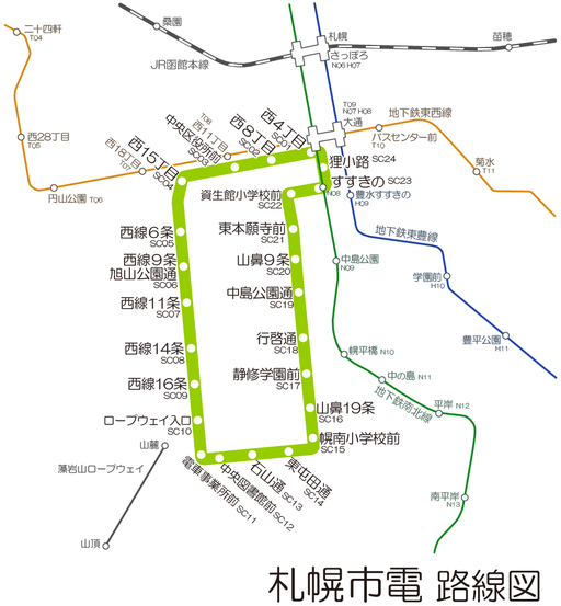 Sapporo Streetcar map ja