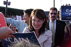 Sarah Palin signing an autograph at a McCain/Palin campaign rally in en:O'Fallon, Missouri during the en:2008 Presidential Election