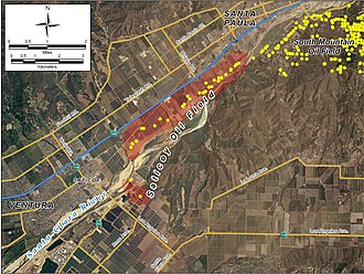 Saticoy Oil Field - Detail of the Saticoy field, showing its location relative to Ventura, Oxnard, and other urbanized areas.  Yellow dots represent locations of active oil wells as of 2008.