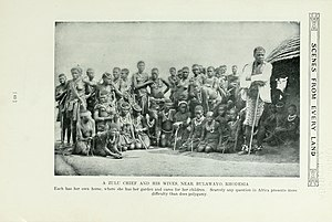 Northern Ndebele people - A chief and his wives, c.1909