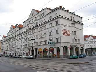 Austrian Civil War - The Schlingerhof in Floridsdorf, where a large cache of weapons was based, and in 1934 used by the Republikanischer Schutzbund