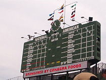 Wrigley Field's famous manual scoreboard in the center field bleachers.