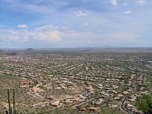 View of suburban development in Phoenix metrop...