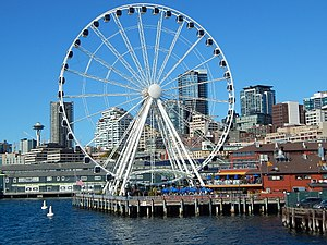 Seattle Great Wheel Ferris Seen From Argosy Cruise Jpg