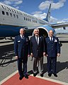 Secretary Tillerson Poses for a Photo With Col. Robbins and U.S. Air Force Chief Master Sgt. Sheehan at Eielson Air Force Base in Alaska (33792505603).jpg