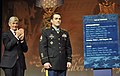 Secretary of the Army John McHugh applauds as former Army Staff Sgt. Clinton L. Romesha unveils the Hall of Heroes Plaque with his name on it for receiving the Medal of Honor at the Pentagon.jpg