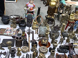 Insa-dong - Buddhist sculptures in a flea market of Insadong