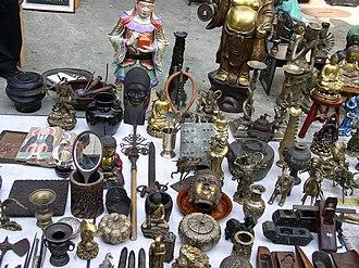 Insa-dong - Buddhist sculptures in a flea market of Insadong