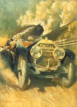 "Oldsmobile Limited vs. 20th Century Limited Zug. Gemälde ""Setting the Pace"" von William Harnden Foster (1909)"