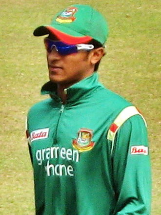 Shakib Al Hasan - Shakib in the 3rd and the final ODI against Zimbabwe in January 2009 in Sher-e-Bangla National Stadium, which Bangladesh won with Shakib's individual unbeaten 33 runs off 60 balls