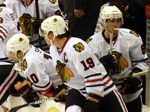 Chicago Blackhawks forwards Patrick Sharp, Jon...