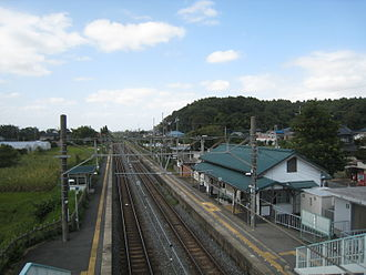 Side platform - View of Shimōsa-Manzaki Station, side platforms from the footbridge