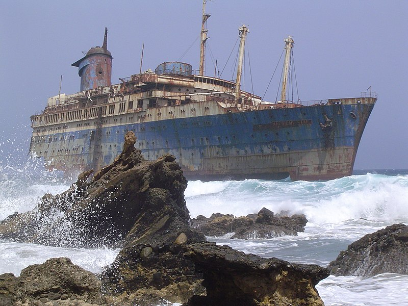 File:Shipwreck of the SS American Star on the shore of Fuerteventura.jpg