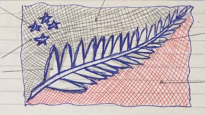 Lockwood silver fern flag - Image: Silver Fern flag original sketch