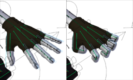 'Bones' (in green) used to pose a hand.  In practice, the 'bones' themselves are often hidden and replaced by more user-friendly objects.  In this example from the open source project Sintel, these 'handles' (in blue) have been scaled down to bend the fingers.  The bones are still controlling the deformation, but the animator only sees the 'handles'.