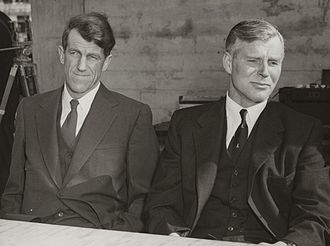 Vivian Fuchs - Sir Vivian Fuchs (right) pictured with Sir Edmund Hillary in Wellington after the return of the Commonwealth Trans-Antarctic Expedition, 1958.