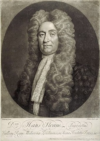 Sir Hans Sloane's collection of books and manuscripts was bequeathed to the British Museum. Sir Hans Sloane, an engraving from a portrait by T. Murray.jpg